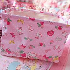 Hello Kitty Pink Linen Foldable Laundry Basket Tidy Clothes Socks Storage KK928