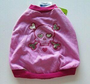 Top Paw Pink Dog Shirt Size Small Skull Crossbones Pink Silver NWT Dog T-Shirt
