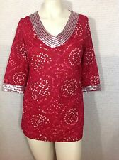 Target Calypso St. Barth Top Red Sequined Trim S Small 3/4 sleeve Resort Cruise