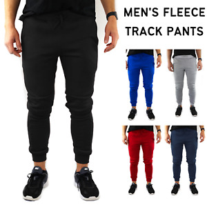 Mens Skinny Track Pants Joggers Trousers Gym Casual Sweat Slim Trackies Fleece