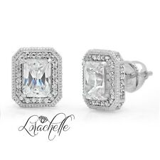 3.5ct Emerald Cut Halo Stud Solitaire Earrings Solid 14k White Gold Screw Back