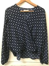Abercrombie & Fitch Top Blue White Print Wrap Front Surplice High Low Blouse S