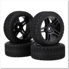 4x RC1:10 On Road Car High Grip Rubber Tyre & Black Plastic Pentagram Wheel Rim