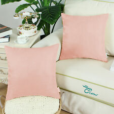 2PCS Square Pillows Cushion Covers Shell Heavy Faux Suede 45cmX45cm Dusty Pink