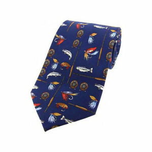 Fly Fishing Tie Blue Silk Rods and Reels Tie Gift SILK 133