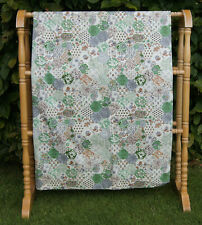 VINTAGE 1980 MARKS & SPENCER PAIR PENCIL PLEAT CURTAINS GREEN PATCHWORK