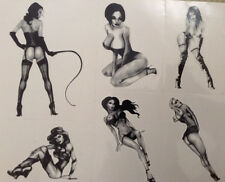 PINUP GIRLS RETRO TEMPORARY TATTOOS 6 DESIGNS SHEET SEXY LOOKS REAL  ARMS BODY.