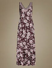 SIZE 18 CHOCOLATE FLORAL NIGHTDRESS MARKS AND SPENCER