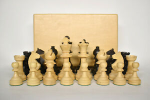 Vintage French Lardy Wooden Chess Pieces Set King 80mm