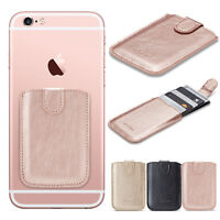 Universal Cell Phone Leather Credit Card Wallet Holder Stick-On Adhesive Elastic