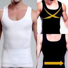 UK Mens Stomach Flattening Firm Control Back Support Chest Shaper Vest Underwear