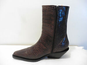 Anthropologie Dark Brown Croc Effect Leather Western Style Ankle Boots £245 UK 5