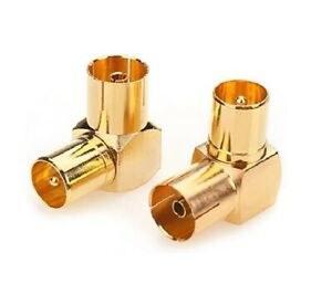 Coax TV Adaptor Female Socket to Male Plug Right Angle Gold Plated Elbow x1