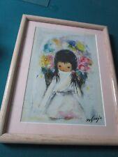 """Ettore """"Ted"""" DeGrazia  (1909-1982) """"FLOWER GIRL""""  FRAMED PRINT"""
