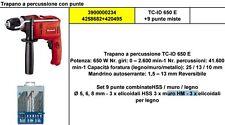 TRAPANO A PERCUSSIONE EINHELL TC-ID 650 E POTENZA 650W + SET 9 PUNTE OMAGGIO