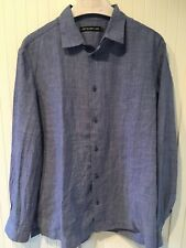 NWOT ISSEY MIYAKE MEN Creased Shirt in Faded Blue, XXL