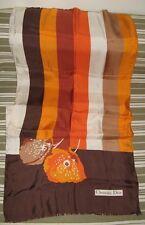 Ancienne Echarpe Carré de Soie Christian Dior Vintage marron orange