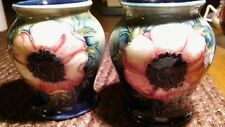 Moorcroft Pair of Anemonie Vases - Stunning 1930's Items - Made in England!