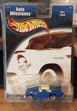 Hot Wheels 2002 Auto Milestones - Blue 1957 T-Bird - White Line Real Riders