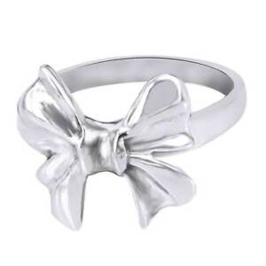 Cute Bow Tie Ribbon Fashion Ring For Women's In 14K White Gold Over Silver