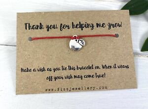 Thank You For Helping Me Grow Tie On Message Card Wish Bracelet Teacher Gift