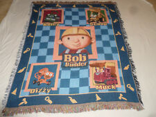 "BOB THE BUILDER BLANKET THROW  AFGHAN ROLEY SCOOP DIZZY MUCK FRINGE 55"" X 45"" >>"