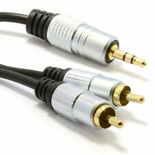 1m Pro Audio Metal 3.5mm Stereo Jack to 2 RCA Phono Plugs Cable Gold [006940]