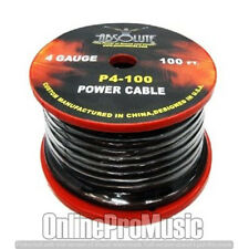 Absolute P4100BK 4-Gauge Spool Power Wire Cable, 100 Feet (Black)