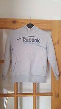 Boys Reebok Pale Grey Hooded Sweatshirt, Long Sleeves, Fleecy, Age 7/8 Years, GC