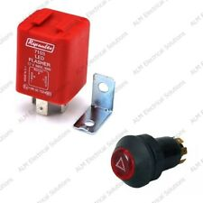 12V Universal Hazard Light Switch & 3 Pin LED Flasher Unit Twin Pack