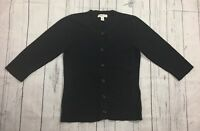 Women's Coldwater Creek Black 3/4 Sleeve Cardigan Sweater-Size S(6-8)