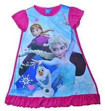 Girls Nightie Disney Frozen Nighty 2 - 8 UK SELLER Pink Trim 3-4 Years