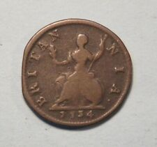 Great Britain Farthing 1734 Copper Coin English UK 1/4 Penny King George II