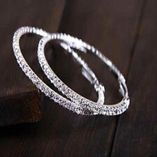Women Crystal Diamante Rhinestone Silver Plated Hoop Round Earrings Jewellry Hot