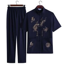 Mens Summer Suits T shirt pants 2 Piece Loose Chinese style embroidered Casual