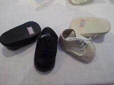 JOB LOT DOLL SHOES IN BLACK OR BEIGE OXFORD STYLE LACE UP