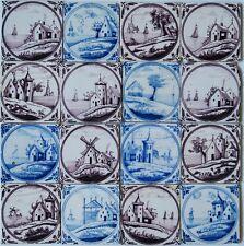 16 rare Antique Dutch Delft delftware landscape scene tiles carreau, 1800 - 1840