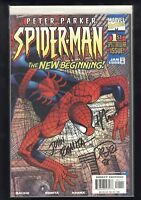 Peter Parker Spider-Man 1999 #1 DF Signed Mackie Romita Jr & Sr 399/1500 COA NM