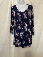 Croft & Barrow Women's Floral Blue Pink 3/4 Sleeve Stretchy Blouse Top Size 2X