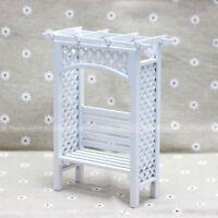 1:12 Dollhouse Miniatures Grape Flower Rack Bench Garden Wood Furniture White