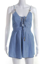 Bec & Bridge Womens V-Neck Chambray Romper Blue Size 4