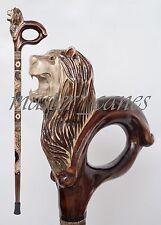 CANE WALKING STICKS EXCLUSIVE HANDMADE LION'S MANE GALICIAN CARVING WOOD LUXURY