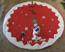 """Santa's Best Christmas 48"""" Red White Tree Skirt Let it Snow Snowmen"""