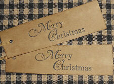10 RECTANGLE  FANCY MERRY CHRISTMAS ~ 3-1/2 x 1 PRIMITIVE GIFT HANG TAGS