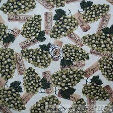 BonEful Fabric FQ Cotton Quilt VTG Grape Food Wine Cork Bar French Merlot Shiraz