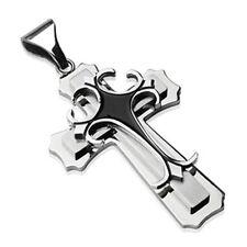 Stainless Steel Double Cross w/ Black Epoxy Gothic Top Cross Pendant P141