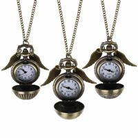 Harry Potter Quidditch Golden Snitch Watch Clock Angle Wings Necklace Pendant