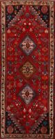 Tribal RED Nomadic Abadeh Runner Rug Geometric Oriental Hand-Knotted Carpet 3x7