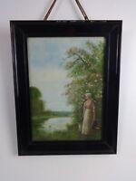Fred Hines Original Painting Watercolour & Gouache English Victorian River Scene