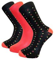 3 Pairs Mens Alexander Green Spotted Bamboo Socks, Black Red Yellow, Size 7-11